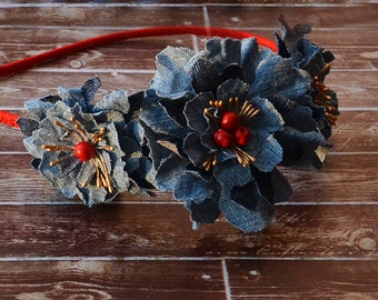 Denim Flower Headband-Flower Headband-Girl Headband-Tiara-Woman Headband-Covered Hard headband