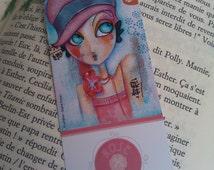 Bookmark illustration retro girl reading book paper flower