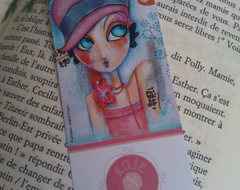 Bookmark retro girl with flower