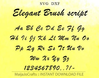 Elegant Font Svg monogram font file DXF, Digital font Cutting Machine Files Silhouette Cameo design Cricut Svg Cutting Template Cricut font