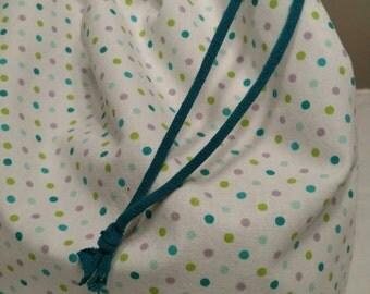 Knitting Bag, Project Bag, Craft Bag, Polka Dots, 10x12 inches