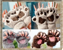 Bear Gloves,Animal Fingerless Gloves,Cosplay,Dress Up,Soft Gloves,Black,Brown,Taupe,Cream,White,Grey,Paws