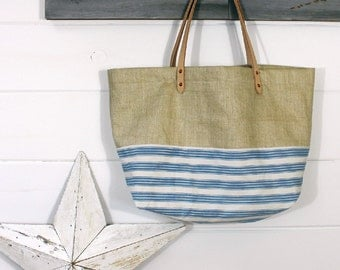 1930s Linen/Ticking Stripe Bag