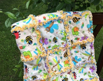 Baby Rag Quilt - Gender Neutral - Nursery Decor -Bee Butterfly Flannel Rag quilt -Crib Rag Quilt - Yellow quilt - Baby Gift - Boy Nursery