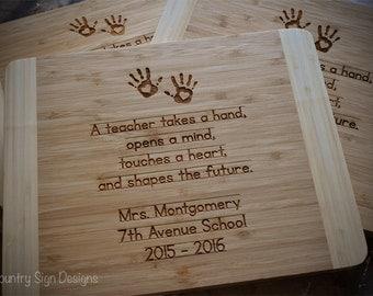 Bamboo Cutting Board, Teachers, Personalized Gift