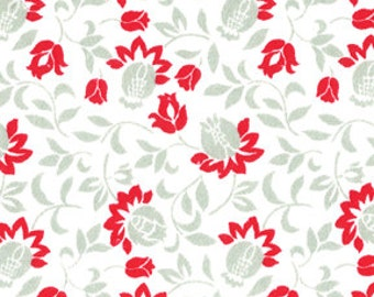 Floral Red/Gray/White Crib Sheets Fitted or Flat
