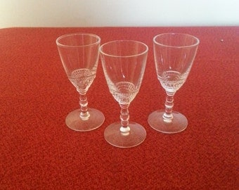 Duncan and Miller Teardrop Pattern Crystal Cordial Glasses Set Of Three