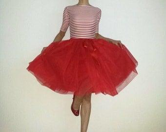 Tulle skirt petticoat red 55 cm