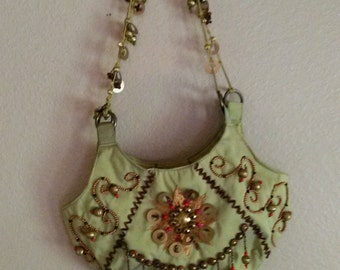 Purse   Shoulder Strap  Green with Beading