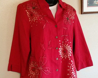 Ladies Blouse Size 8 by Alfred Dunner Embroidered and Beaded--flowers-- VINTAGE item in Excellent Condition  (free shipping)