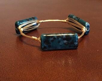 Blue & Black Speckled Bangle