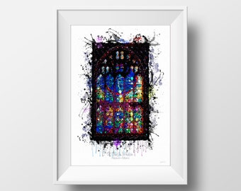 Stained Glass Watercolour Painting; Manchester; Digital Painting; Church Window; Digital Art Print; Digital Watercolour; Architecture Print
