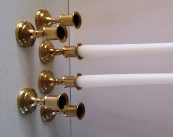 Shiny Brass Traditional Shorty 2 5/8 Inch Taper Candlesticks; Set of 6