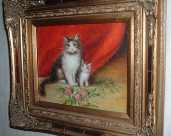 oil painting cats, kitten, on canvas with frame