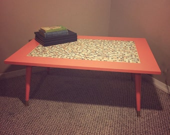 RESERVED - Reclaimed Mid Century Coral Mosaic Tile Coffee Table