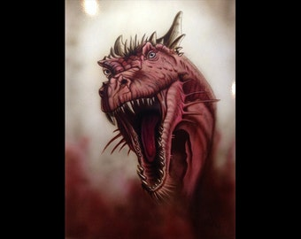 Airbrushed dragon on metal