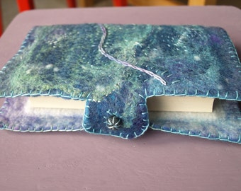 Felted and embroidered notebook cover 'Twinkle""