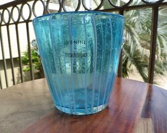 Italian Vinini Handblown Blue Glass Ice Bucket