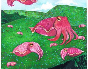 A Cuddle of Cuttlefish Original Art Print
