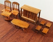 Reserved - Dollhouse Furniture 1:12 scale, 3 pieces of oak stained honey gold - 2 chairs and table