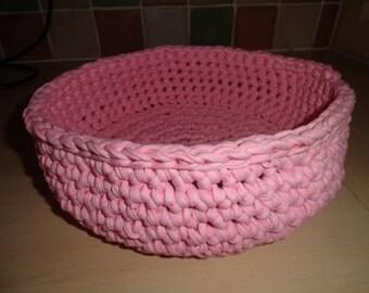 SALE! 20% Off!! Pink T-Shirt (textile) yarn Basket