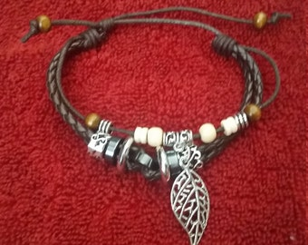 Leather Leaf Bracelet