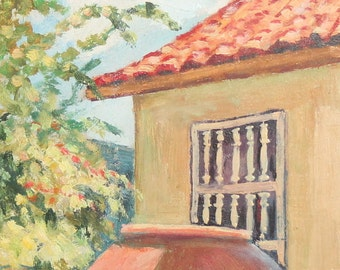 Vintage oil painting landscape rural house signed