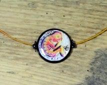 Jewelry birth, fetus, oval black medallion, unique collar neck Ras
