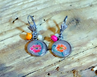 Poppies earrings, handpainted stainless steel