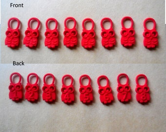 Hedwig - Red  Numbered Owl Stitch Markers in 3D Printed Plastic