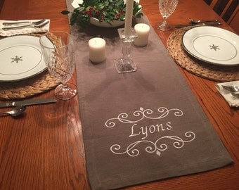 "MONOGRAMMED TABLE RUNNER 70"", embroidered, custom, personalized, monogrammed"
