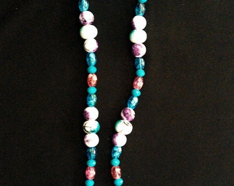 Purple and Teal Unique Beaded Necklace