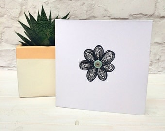 Flower thank you card. Blank thank you card. Blank greetings card with flower drawing. Black flower and button card. Blank card.