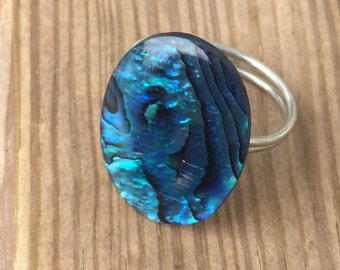 Blue Mother of Pearl Ring