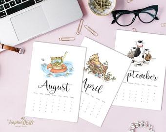 Printable 2017 calendar for cat lovers, A4, A5, letter year calendar, digital desk calendar, one month calendar, Instant Download