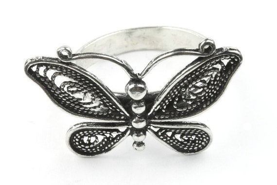 Sterling Silver Dancing Butterfly Ring, Moth ring, Wing Ring, Nature Ring, Spiritual, Boho Ring, Gypsy Ring