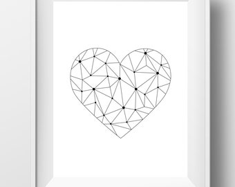 Geometric heart, heart print, black and white, geometric print, printable heart, valentines day gift, minimalist print, instant download