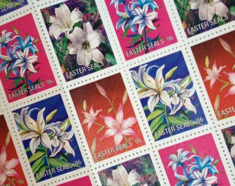 40 (UNUSED) Easter Seals Lily Flowers stickers 1996