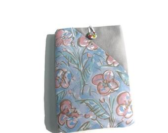 "Nook tablet case, Floral Kindle paperwhite case, Amazon fire sleeve, 6"" fabric tablet case, floral tablet case, Ebook wallet, Kindle voyage"