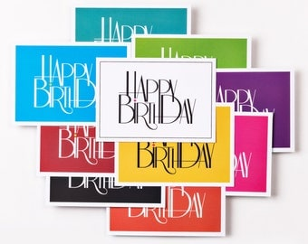 Set of 10 HAPPY BIRTHDAY - design birthday cards in different colours