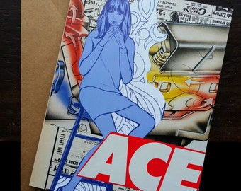 "Original Collage Greeting Card ""Ace"" - Mixed Media"
