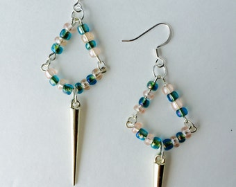 Light Pink and Teal Dagger Earrings