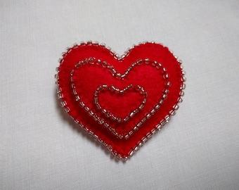 Red Felt, Triple Heart, Brooch/Pin, Valentine Gift, Valentines Gift, Heart Brooch, Beaded Brooch, Love Heart