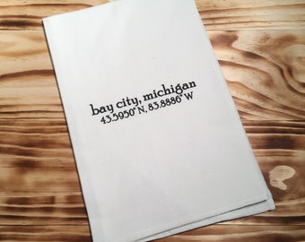 Bay City MI Flour Sack Tea Towel. Dish Towel. Housewarming Gift.