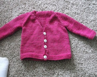 Hand knitted dark pink girls sweater Fits 3 month old