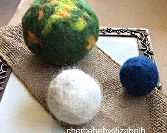Eco friendly, multi-purpose, Handmade, up-cycled balls for babys room, green, blue, white, nursery decor, needle felted