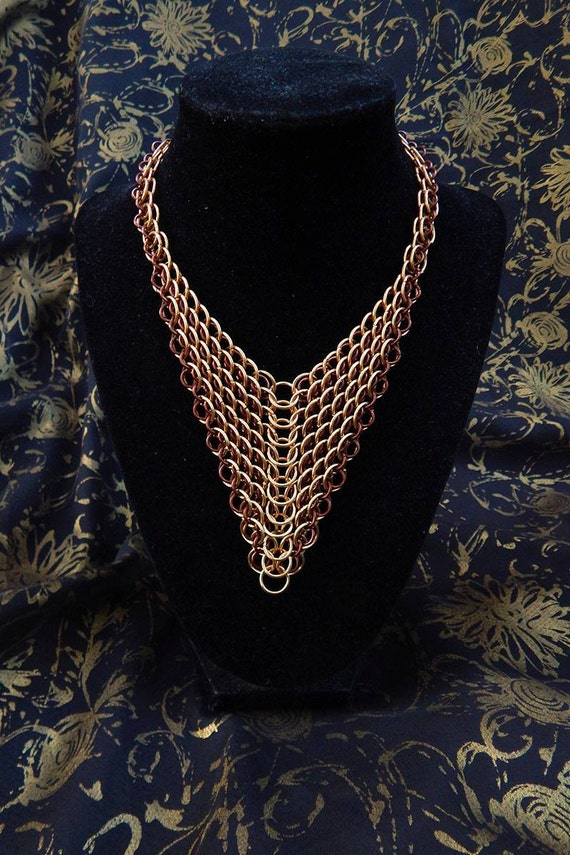 Brass and Bronze Dragonscale Necklace - Chainmaille Armor - Armor Jewelry - Gothic Armor Necklace - Gothic Jewelry - Statement Necklace