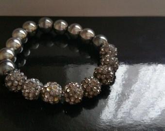 Grey shamballa bracelet (1 bracelet)