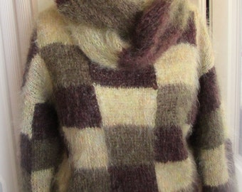 Hand knitted Mohair Sweater and Scarf – Shades of Amber