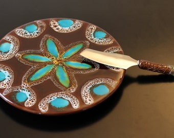 ON SALE! Vintage cheese plate, Vallauris, French, cake plate, pottery, ceramic, turquoise, brown, flower, 1960's, 1970's
